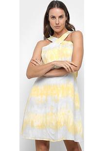 Vestido Curto Jolie Tie Dye Rodado - Feminino-Amarelo