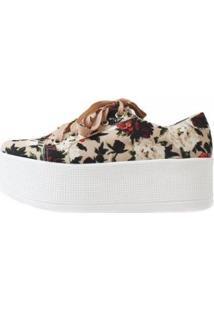 Tênis Damannu Shoes Jessie Floral Feminino - Feminino-Branco