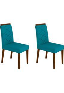 Conjunto Com 2 Cadeiras Caroline Castanho E Azul