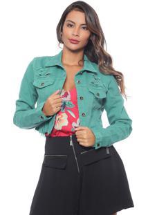 Jaqueta Missbella Com Puídos Jeans Verde