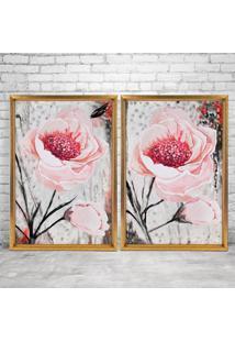 Quadro Com Moldura Chanfrada Floral Rosa Dourado - Mã©Dio - Multicolorido - Dafiti