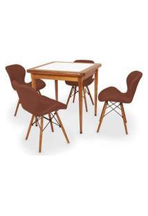 Conjunto Mesa De Jantar Em Madeira Imbuia Com Azulejo + 4 Cadeiras Slim - Marrom