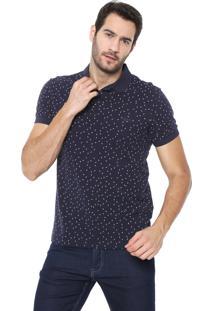 Camisa Polo Colcci Reta Poá Azul-Marinho