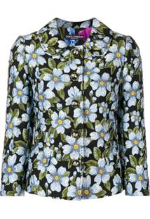 Dolce & Gabbana Jaqueta Slim Floral - Preto