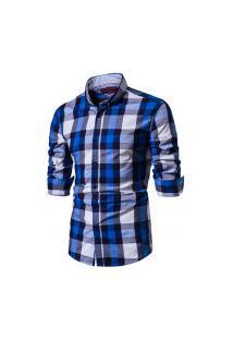 Camisa Xadrez Baytown Masculina - Azul E Banco