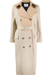 Msgm Trench Coat Bicolor - Neutro