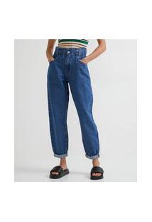 Calça Baggy Jeans Com Elástico No Cós E Barra Dobrada
