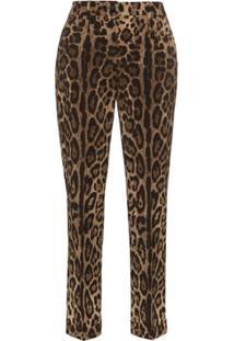 Dolce & Gabbana Calça Slim Animal Print - Marrom