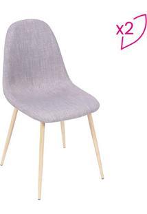 Jogo De Cadeiras Charla- Cinza & Bege- 2Pã§S- Or Or Design