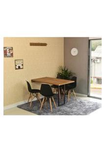 Conjunto De Mesa Dobrável Retrátil 120 X 75 Noronha + 4 Cadeiras Eiffel - Preta