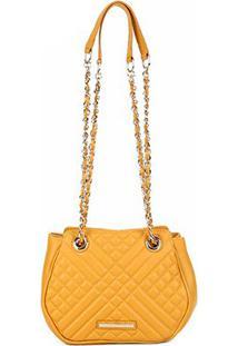 Bolsa Couro Jorge Bischoff Mini Bag Matelassê Feminina - Feminino-Amarelo