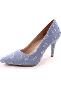 Scarpin Lia Jeans Glitter