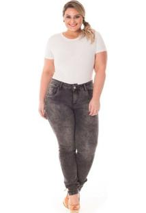 Calça Confidencial Extra Plus Size Jeans Black Feminina - Feminino-Preto