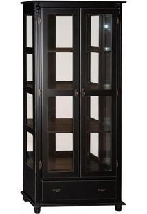 Cristaleira 2 Portas + 3 Prateleiras + 1 Gaveta Laterais Com Vidro Com Espelho - Tommy Design