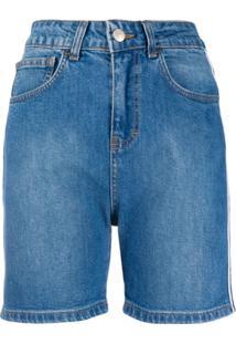 Gcds Short Jeans Com Logo - Azul