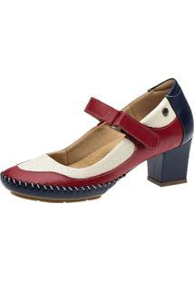 Sapato Salto Doctor Shoes 789 Petróleo/Framboesa