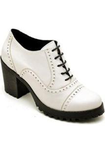 Bota Ankle Boot Oxford Em Couro Trivalle Shoes Feminina - Feminino-Branco
