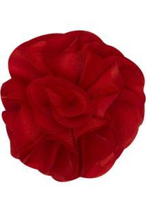 Presilha Em Cetim Maxi Flor Vermelha - Roana 3674-I Presilha Em Cetim Maxi Flor Vermelha