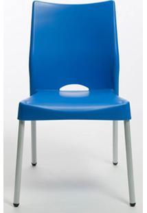 Cadeira Malba Base Fixa Pintada Cinza Cor Azul - 14306 Sun House