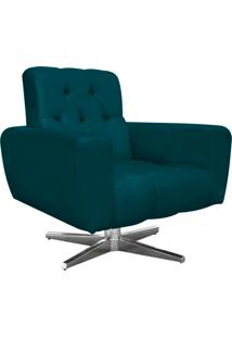 Poltrona Decorativa Pietra Suede Azul Pavão Com Base Estrela Giratória Em Aço Cromado - D'Rossi