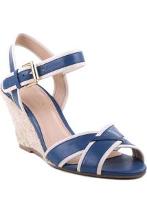 Sandã¡Lia Anabela Em Couro- Azul & Off Whitearezzo & Co.