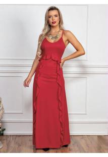 Vestido Longo Vermelho Com Babados Frontais