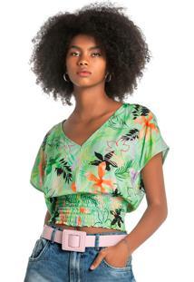 Blusa Verd Ampla Tropical Com Lastex