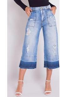 Calça Jeans Areazul Pantacourt Feminina - Feminino