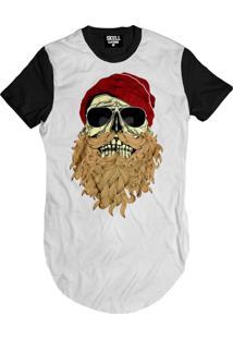 Camiseta Manga Curta Skull Clothing Caveira Barbuda Branco