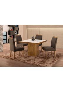 Conjunto De Mesa De Jantar Com 4 Cadeiras E Tampo De Madeira Maciça Arezo I Suede Grafite E Off White