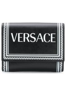 Versace Carteira Com Logo Vintage - Preto