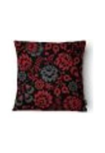 Capa Para Almofada Flores Veludo 43X43Cm Preto E Vermelho