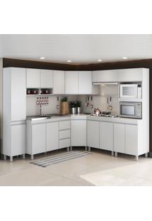 Cozinha Completa Canne 16 Portas 3 Gavetas Branco - Viero Móveis