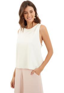 Blusa Le Lis Blanc Bety Malha Off White Feminina (Off White, Gg)