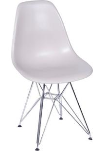 Cadeira Eames- Bege & Prateada- 80,5X46,5X42Cm- Or Design