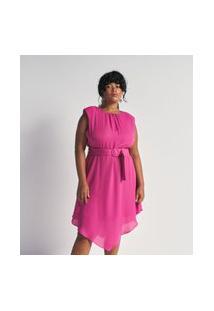 Vestido Curto Em Crepe Com Cinto E Fivela Forrada Rosa
