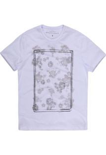 Camiseta Masculina Flores Branco