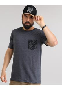 Camiseta Com Bolso Estampado De Coqueiros Cinza Mescla Escuro