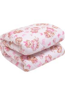 Edredom Lynel Bebezinho Ternura Fio Penteado 100X140Cm Branco/Rosa