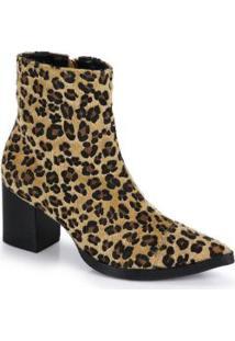 Ankle Boots Salto Grosso Desmond Onça Marrom