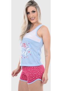 Pijama Regata Baby Doll Shorts Doll Feminino Confortável Azul