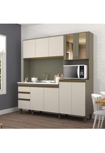 Armário De Cozinha 9 Portas 3 Gavetas Briz Duna/Cristal