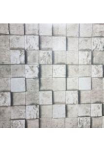 Kit 4 Rolos De Papel De Parede Fort Line Lavável Pedra Mosaico São Tome