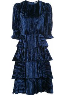 Batsheva Vestido De Veludo Com Babados - Azul