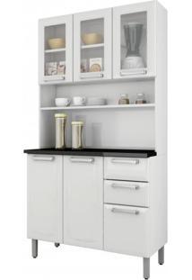 Armário De Cozinha 6 Portas 3 De Vidro 2 Gavetas Regina Itatiaia Branco