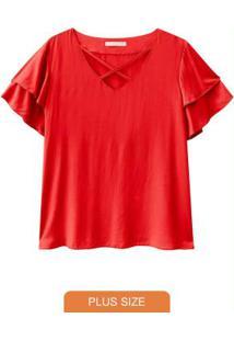 Blusa Tecido Detalhe Transpassado Decotevermelho