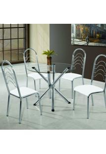 Conjunto Mesa Pietra 4 Cadeiras Pequim Aço Nobre Cromado/Branco