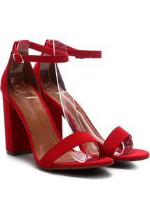 Sandália Ala Salto Alto Multi Tiras Grosso Nobuck Feminina - Feminino-Vermelho Escuro