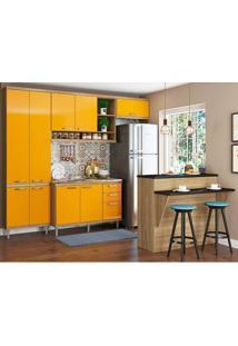 Cozinha Compacta Com 9 Portas 5 Peças 5845 Sicília - Multimóveis - Argila / Amarelo