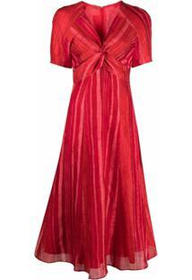 Cult Gaia Vestido Midi Acinturado Com Listras - Vermelho